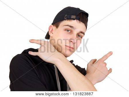 Teenager in the Cap Isolated on the White Background