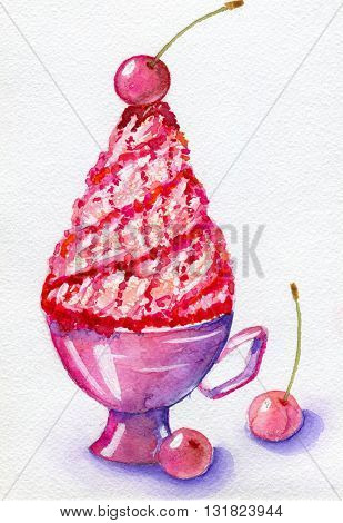 Whipped cream in cup and cherry, isolated on white background. Hand painted watercolor illustration and paper texture