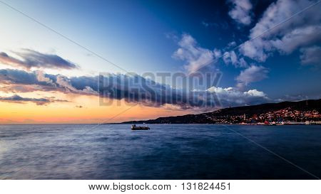 winter evening on the shoreline of Trieste
