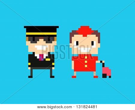 Pixel art cabin crew captain pilot and stewardess isolated on blue background