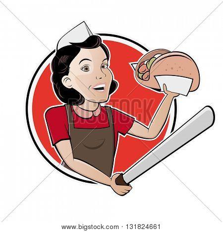 happy woman serving turkish doner