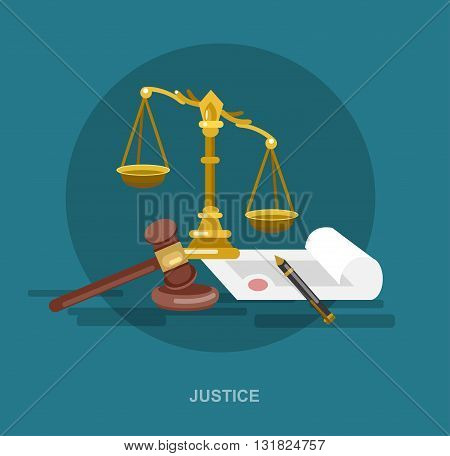 Law banner concept, judical system elements and icon. Law cool flat  illustration, Law vector