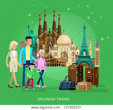 High quality, detailed most famous World landmarks characters family travel. Travel vector. Travel illustration. Travel landmarks. Happy travel
