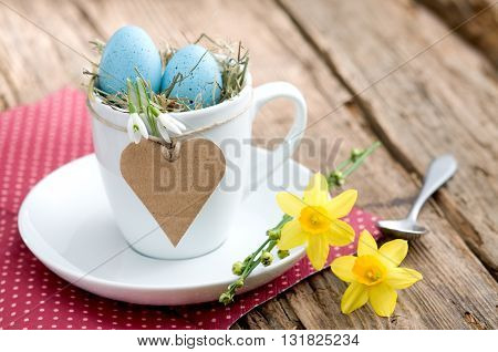 Invitation for Easter breakfast with eggs and copyspace