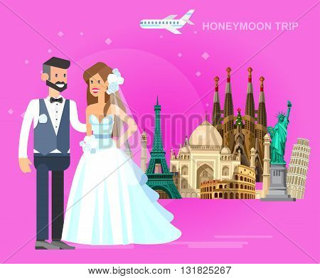 High quality, detailed most famous World landmarks Characters honeymoon bridal couple travel. Travel vector. Travel illustration. Travel landmarks. Happy travel