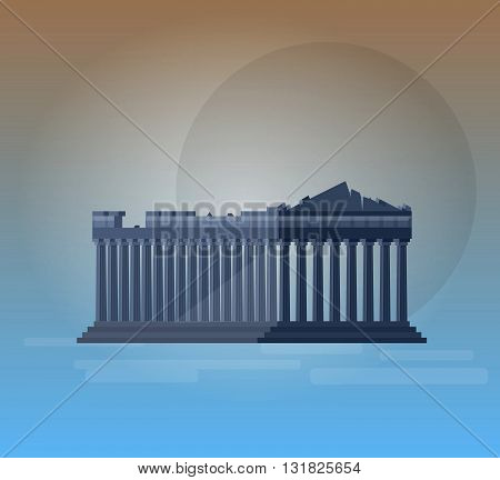 High quality, detailed most famous World landmark. Flat design of parthenon greek illustration vector. Travel vector. Travel illustration. Travel landmarks. Happy travel