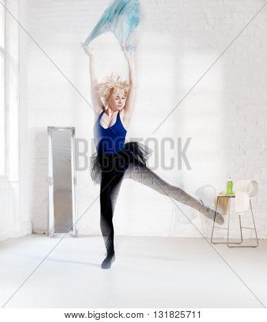 Dancer practicing. Transparent legs.