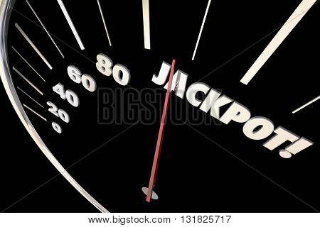 Jackpot Winnings Money Prize Speedometer Words 3d Illustration