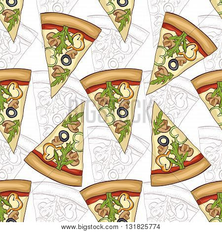 Seamless pattern scetch and color pizza with mashrooms. Vector illustration, EPS 10
