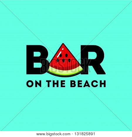 Flat logo with the image of a piece of watermelon. It can be used for beach bar, fresh juice bar, fruit shop