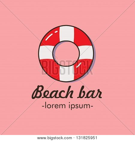 Flat  logo with the image of a life buoy. It can be used for beach bar, swimming pool, lifeguards on the beach. Vector illustration.
