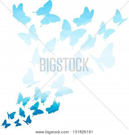 Blue triangle butterflies swirl. Flying butterfly pattern. butterfly isolated on white background. flying butterflies vector. flying geometric butterfly. butterfly background. butterfly.