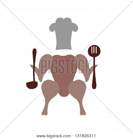 Roasted chicken. Isolated meat on white background