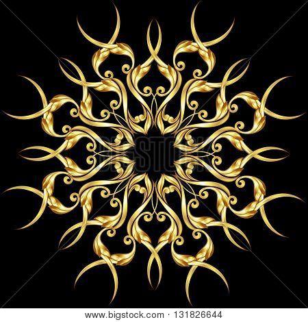 Golden floral pattern on the black background