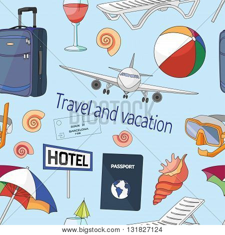 Travel and vacation pattern Hand drawn sketch illustration isolated on white background