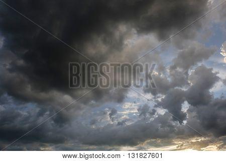 Rain Cloud On Sunset Dramatic Sky Background
