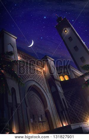3D Illustration Mosque Night