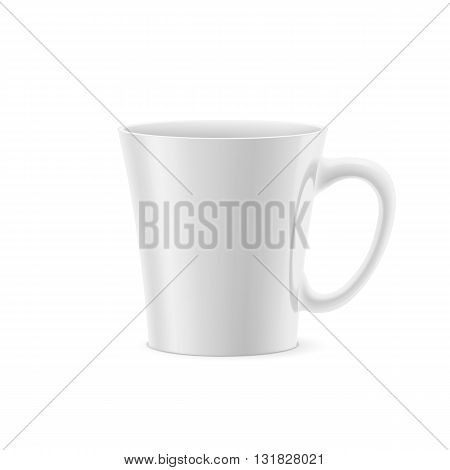 White cup with tapered bottom stay on white background