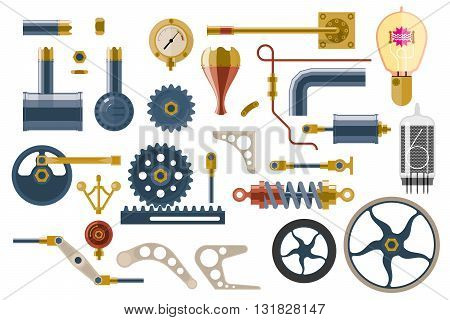 Set of parts and components of the machine mechanism. Steampunk, flat icons set