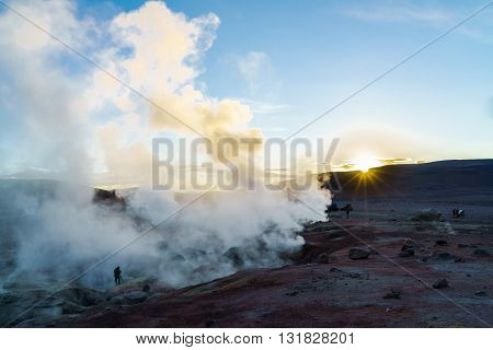 View of Geothermal Field in Bolivia at sunrise