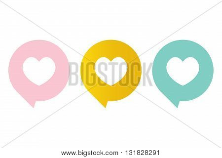 Cute pink, mint green and gold like symbol, heart in a speech bubble.