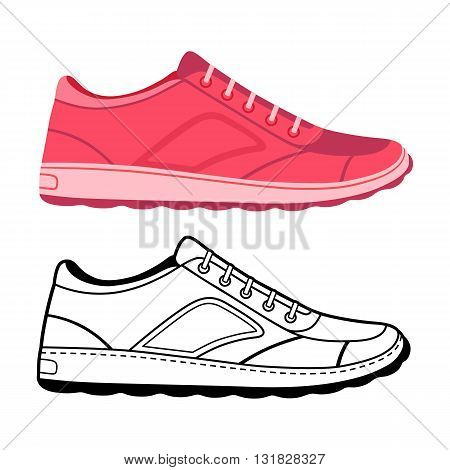 Unisex outlined template sneakers set side view vector illustration isolated on white background
