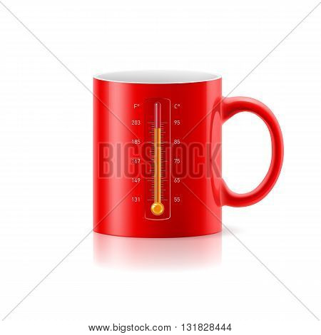 Red cup with a built-in thermometer on white background