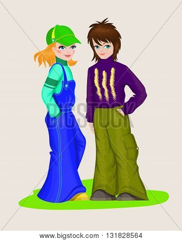 Teens girl and boy in fashionable clothing. Vector illustration.