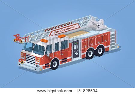 Fire truck against the blue background. 3D lowpoly isometric vector illustration