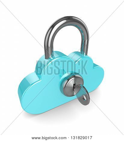 3D Cloud Padlock Isolated Over White Background