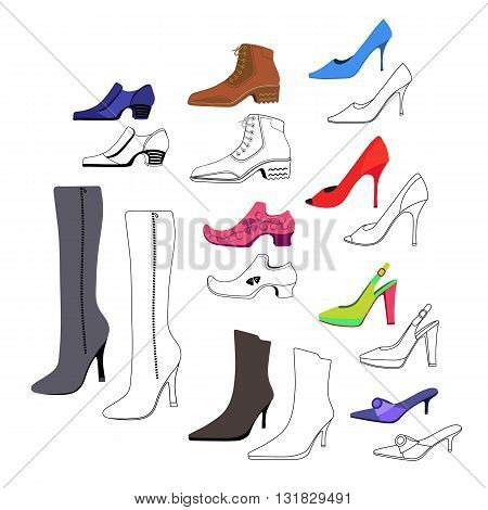Colored outlined flat lay man & women shoes set vector illustration isolated on white background