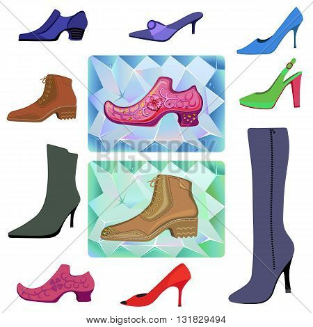 Colored flat lay man & women shoes set vector illustration isolated on white background