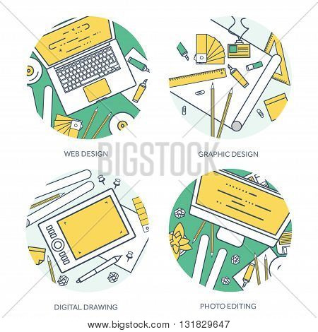Lined, outline graphic web design. Drawing and painting. Development. Illustration, sketching, freelance. User interface. UI. Computer, laptop.