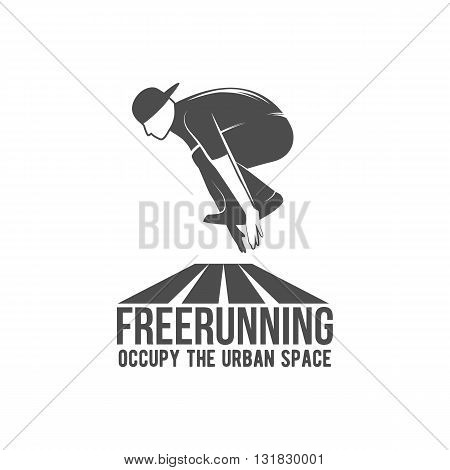 Parkour icon, badge, logo, design elements. Free running, youth, sport and lifestyle concept.Parkour tricks extreme sport people vector silhouette. City sport parkour human pose. Parkour jump