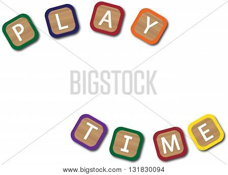 Kids blocks spelling play time isolated on a white background