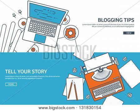 Lined, outline vector illustration. Flat typewriter.Laptop with hands. Tell your story. Author. Blogging.