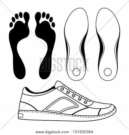 Black outlined sneakers shoe & soles vector illustration isolated on white background