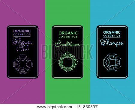 label for organic cosmetics, shampoo, shower gel, balm packaging. Linear vector illustration for organic cosmetics