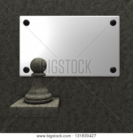 stone chess pawn and blank white sign - 3d rendering