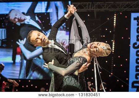 Wroclaw, Poland - May 14, 2016: Evaldas Sodeika And Ieva Zukauskaite In Dance Pose During World Danc