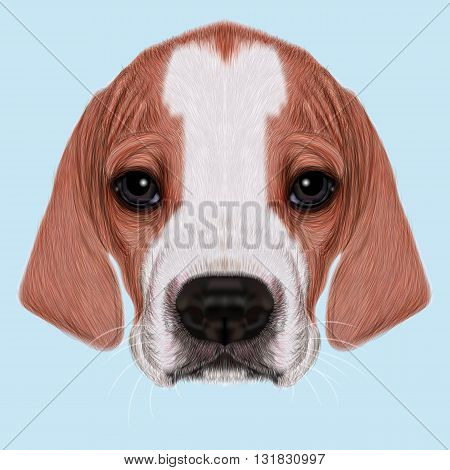 Illustrated Portrait of English Pointer puppy. Cute bicolor short hair domestic dog on blue background.