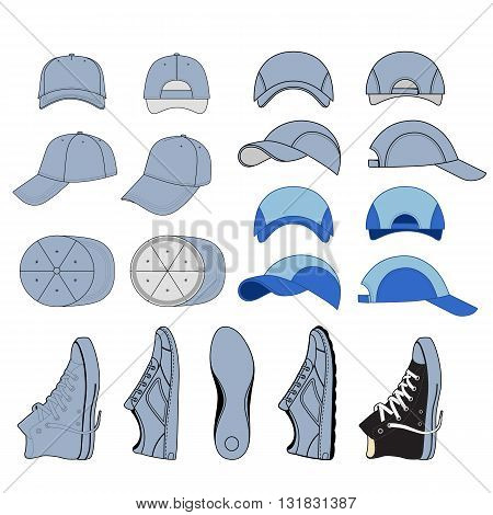 Colored outlined sneakers & baseball cap set vector illustration isolated on white background