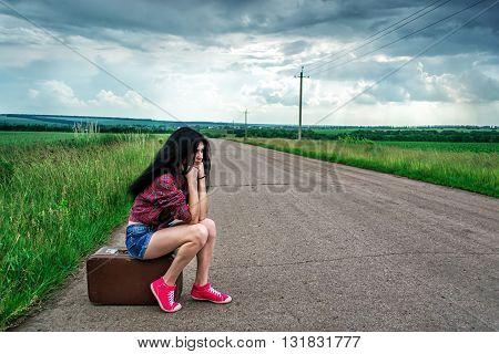 Beautiful Girl Stops The Car