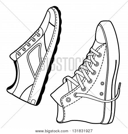 Pair right unisex black outlined sneakers shoes side view vector illustration isolated on white background