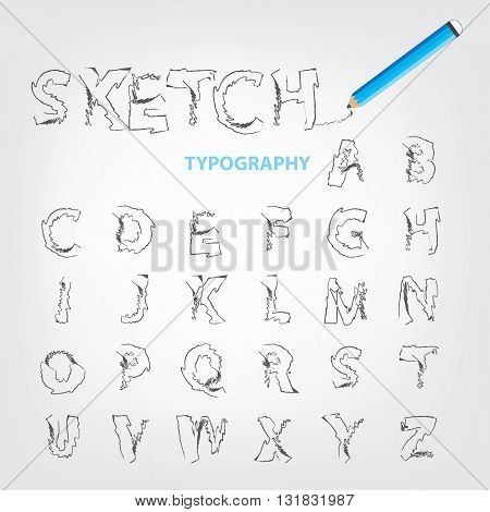Font Design Typography In Sketch Style