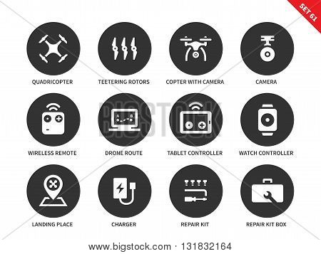 Flying drone vector icons set. Technology and remote control items, equipment, quadrocopters, drones, remote control, camera, tablet, repair kit box. Isolated on white background