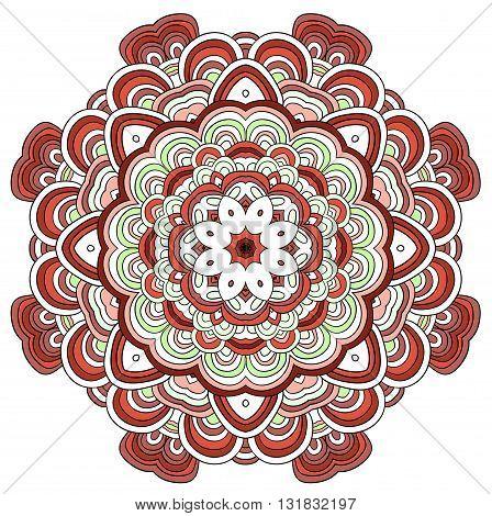 Adult coloring book. Vector Beautiful Deco Black Mandala, Patterned Design Element, Ethnic Amulet. Zendala. Tribal.