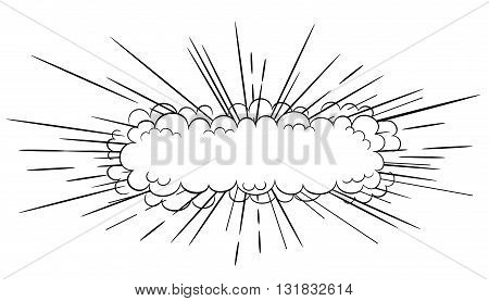 Vector black and white  long slim cartoon comic style explosion cloud blast illustration