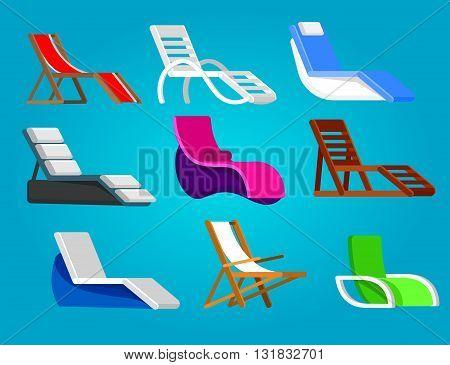 beach chaise longue in different design. Retro beach chaise longue. Vector beach chaise longue set, beach chaise longue illustration. Vector beach chaise longue