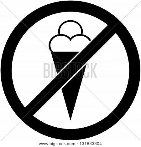 No ice cream, food and eating prohibited symbol. Sign indicating the prohibition or rule. Warning and forbidden. Flat design. Vector illustration. Easy to use and edit. EPS10.
